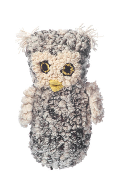 hand knitted owl hand puppet