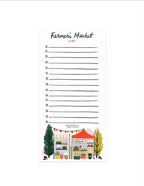Farmers market note pad laying flat