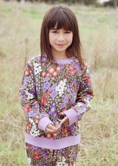 Garden Flora Kids Sweater-Lilac