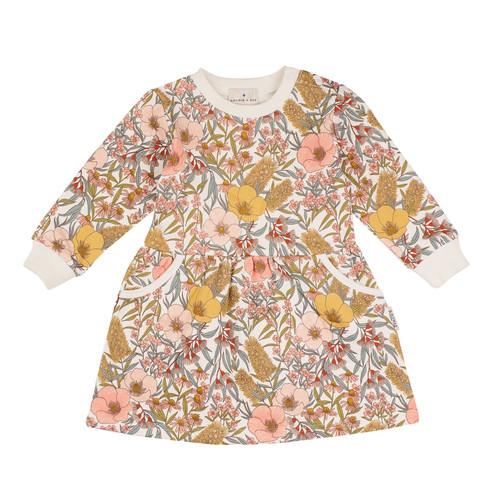 G+A Vintage Floral Gathered Pocket Dress
