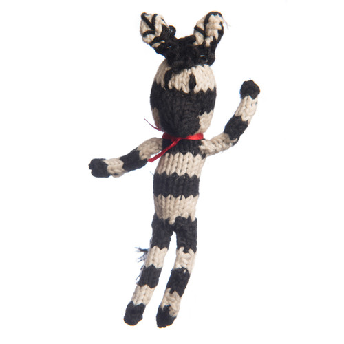 Little hand knitted, organic cotton zebra toy