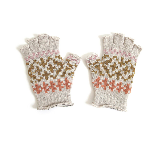 fairisle fingerless gloves in mushroom