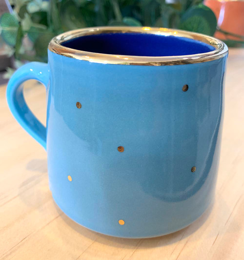 Blue Ruby Pilven Mug with gold spots