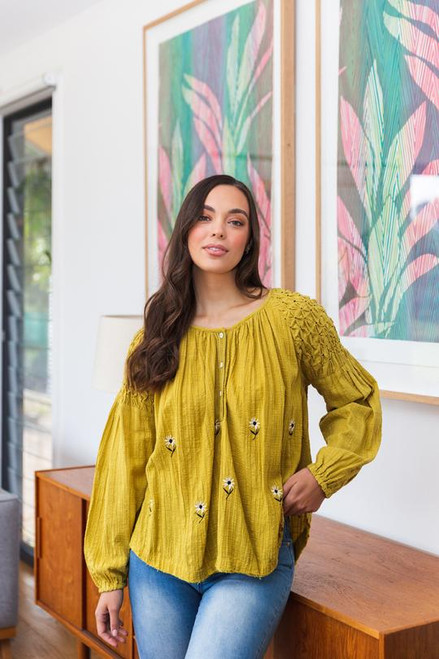SMOCKED SLEEVE EMBROIDERED TOP