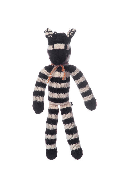 hand knitted zebra toy, medium size.