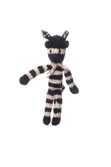 hand knitted, woollen zebra soft toy