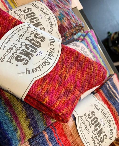 Hand cranked wool socks, the odd sockery