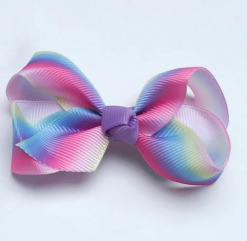 Grosgrain Bow Sml - Rainbow