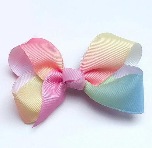 Grosgrain Bow Sml - Pastel Rainbow
