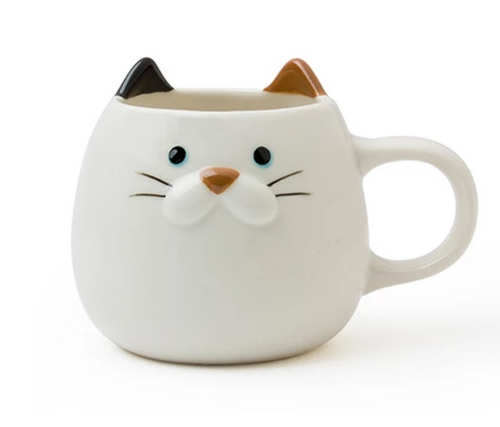 White Cat Mug, designed in Japan.