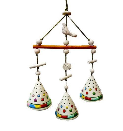 A mobile with 3 glazed ceramic bells with floral patterns, strung with nylon cord & ceramic beads. The word LIEPA means linden tree in Lithuanian.  Size: approx. 29 x 11 cm (one bell 3.5 x 3.5 cm ) Weight: approx. 50 g