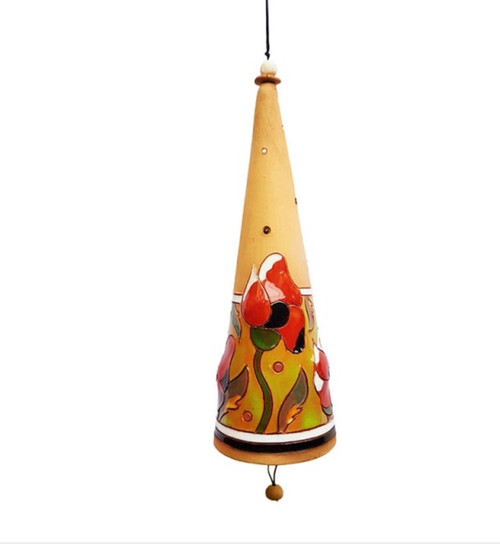 Tall ceramic conical bell with red poppies. Strung with nylon cord, ceramic beads and natural twigs. Each bell is a unique hand-made piece and colors might be different than pictured.  The bell name PIEVA means a meadow in Lithuanian language.  Size: approx. 18 x 6cm bell, 41 cm height including string  weight: approx. 125 g