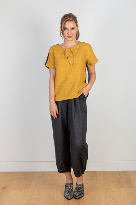 Mustard linen top with tie front and black contrast back panel