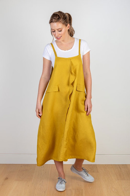 Linen pinafore dress with front ruffle detail by JJ Sisters, front view