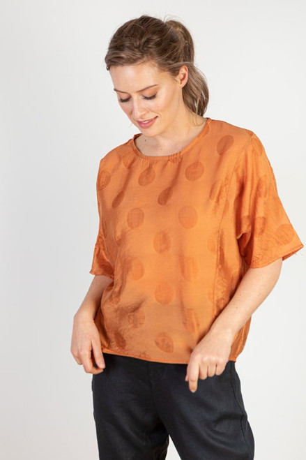 Orange spot, viscose top by JJ Sisters Melbourne