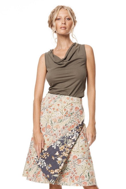 reversible skirt with floral pattern both sides on model