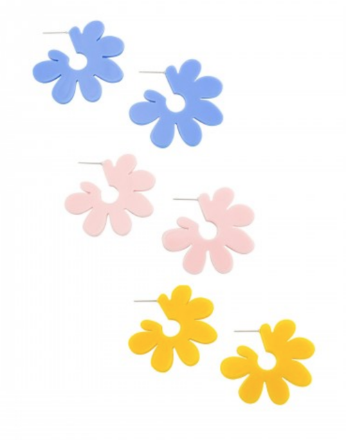 Disco daisy studs in blue, pink and yellow