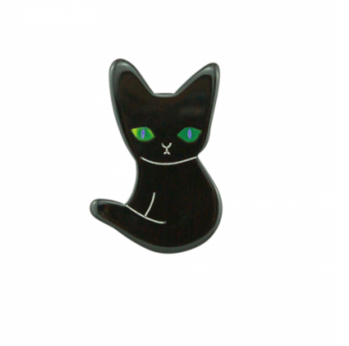 Black cat brooch with green eyes