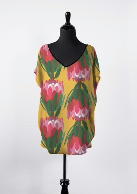 protea illustration on mustard background top