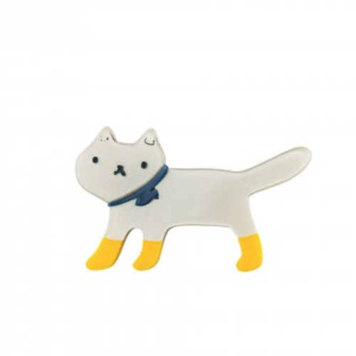 little white cat with yellow socks brooch