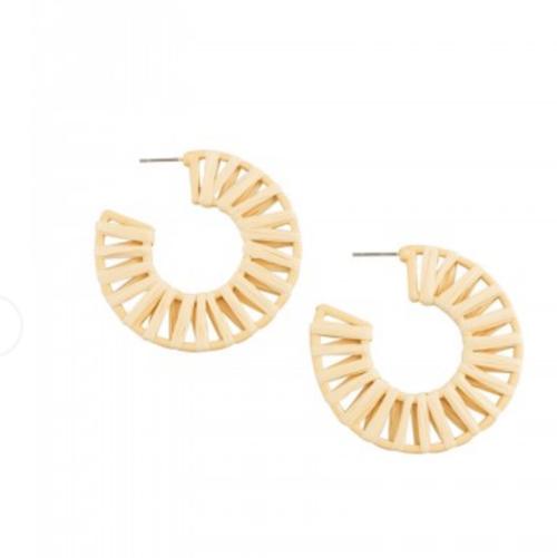 rattan hoop earrings natural