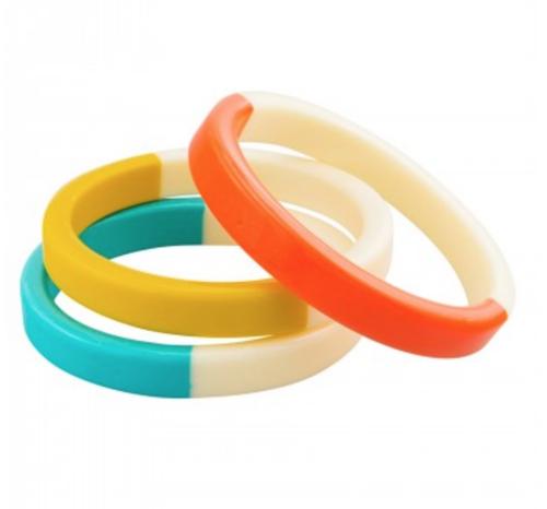acrylic bangle, yellow, blue and orange