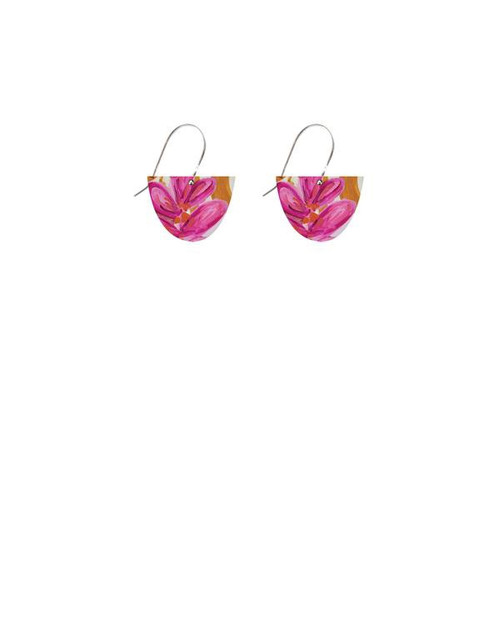 small half circle drop earrings bright pink and orange