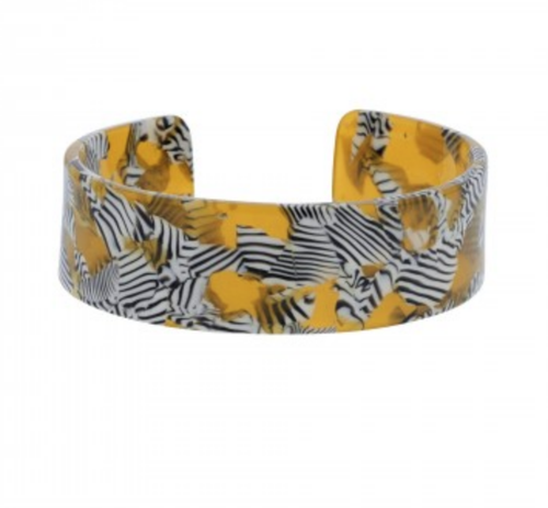 acrylic zebra print cuff bracelet, yellow, black and white