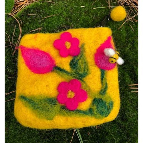 Yellow and pink felt purse with cute little bee.
