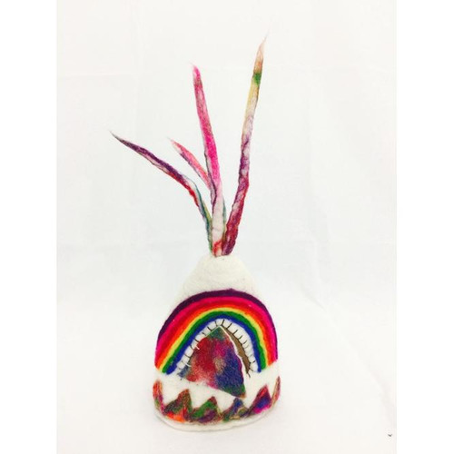 Teepee made from felt with rainbow detail