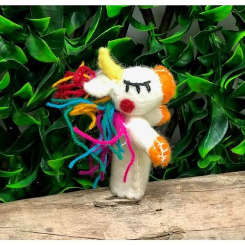 Rainbow unicorn finger puppet