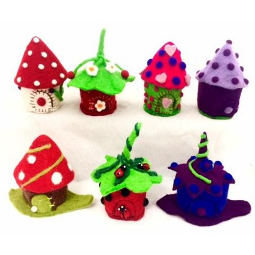 A cute little collection of felt fairy homes