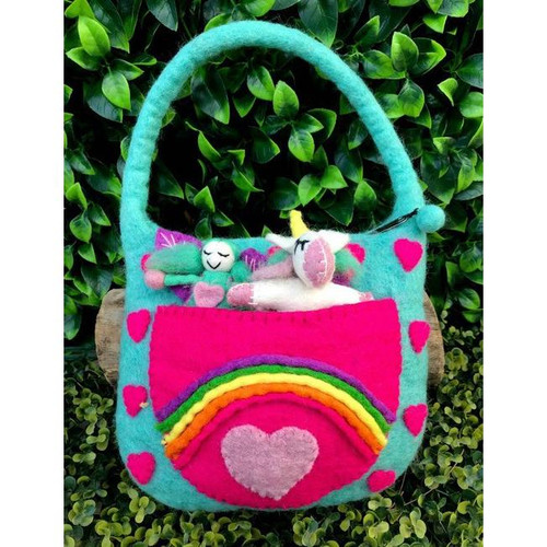 Rainbow Unicorn felt bag.