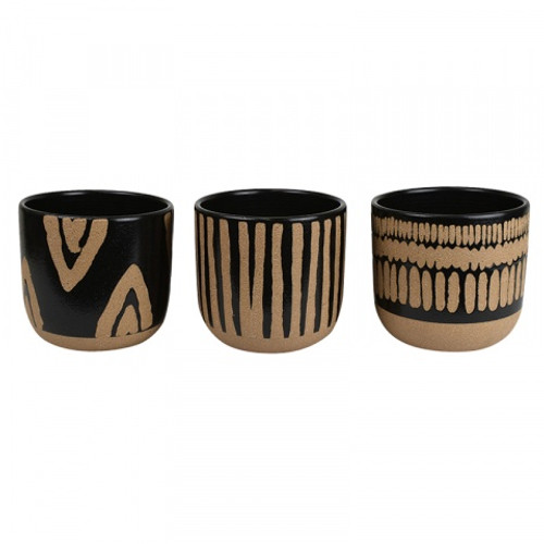 Three black and cream pots with etched decoration