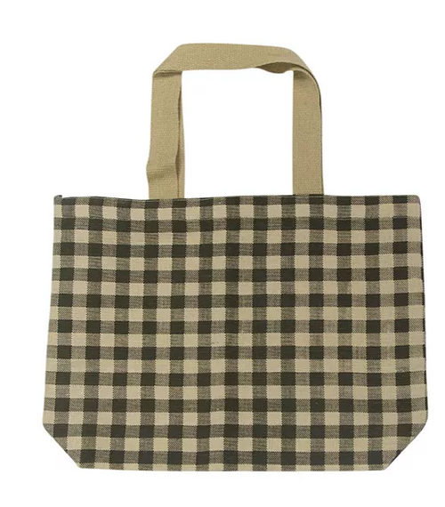 eco friendly jute shopping bag with gingham pattern