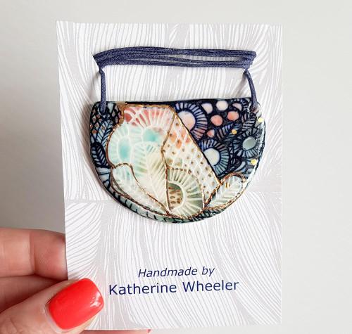 Katherine Wheeler Half Circle Coral Pendant