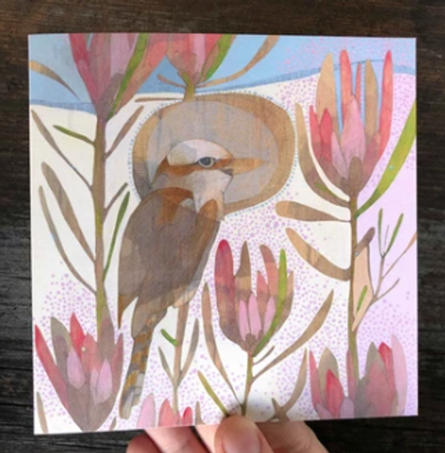 spring laughing kookaburra + protea repens
