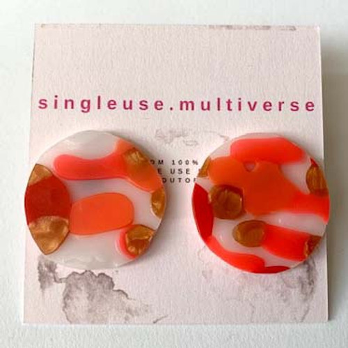 Made from re-cycled, single use plastics, Singleuse.Multiverse have created an amazing range of earrings that are sure to make a statement.