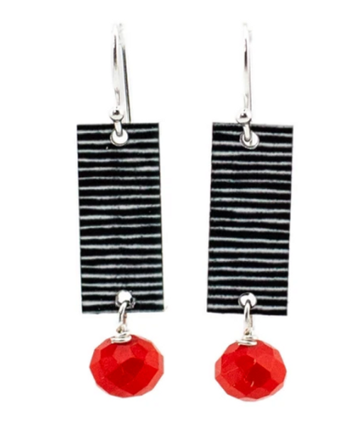 Red and Black hand made earrings