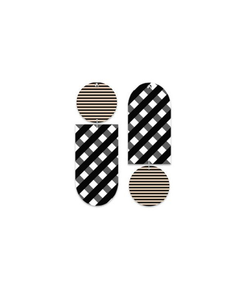 Ebony Striped Gingham Tab Stud Earrings
