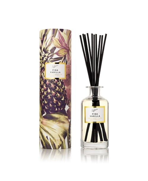 PINA VANILLA: celebrates summer with notes of reunion vanilla, baby pineapple, lemon balm & green coconuts Boxed Fragrance Diffuser 250ml/8.81floz with black reeds
