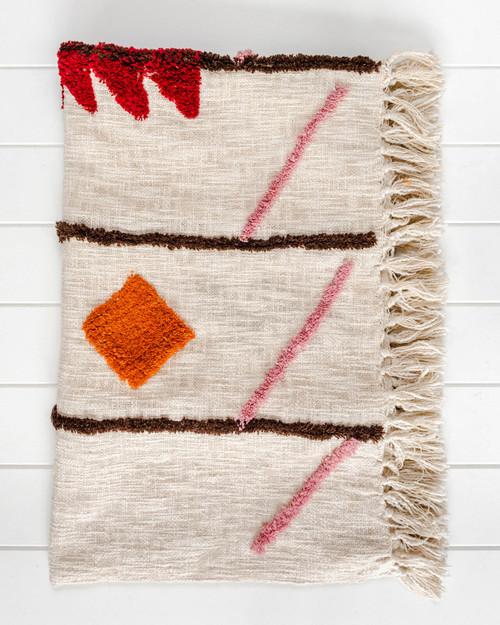 Throw Blanket - Bagru - Natural/Multi - SP172