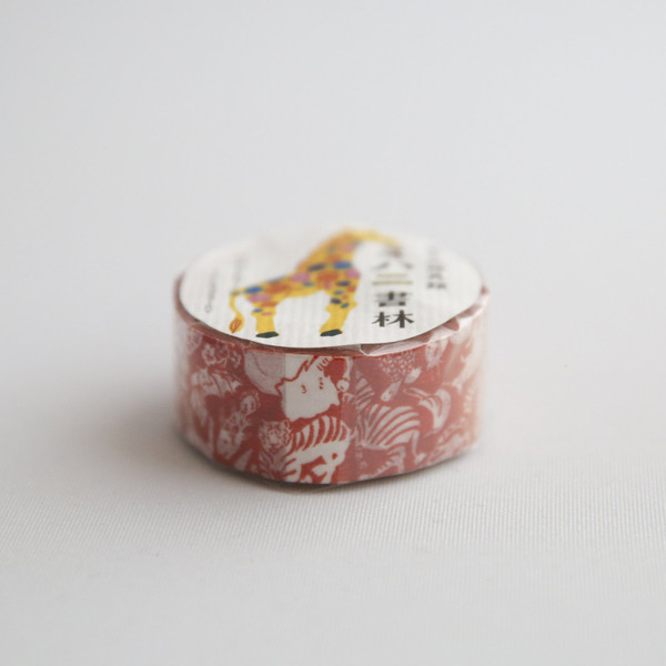 red washi tape with giraffes