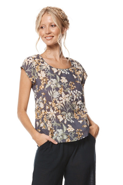 remi floral top with floral pattern on model