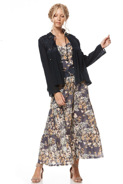 Zara jacket in navy with lace insert front and back