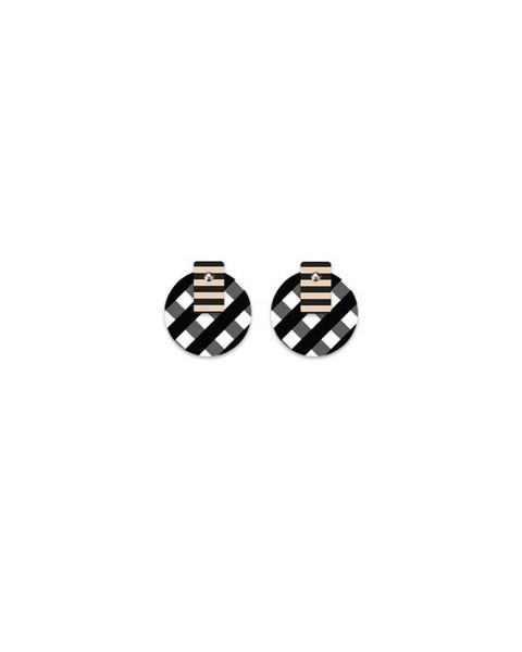 Ebony Striped Gingham Layered Med Circle Stud Earrings