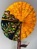 Leather & Ankara Folding Fan - 025
