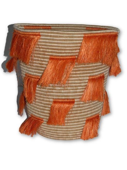 Orange Fringes Basket - Large