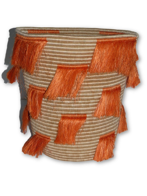 Orange Fringes Basket - Large