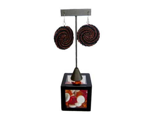 Telephone Wire Earrings - Black & Copper